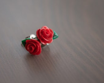 Red Rose - Polymer Clay Stud Earrings