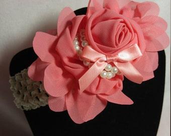 Peach Flower Crochet Headband