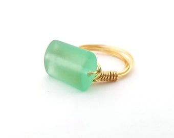 Aqua Sea Glass Ring - Gold Wire Wrapped Ring - Ring Size 6 - Beach Ring - Sea Glass Jewelry - Beach Jewelry - Gift For Her
