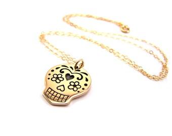 Sugar Skull Charm Necklace - 14k Gold Fill Necklace - Simple Jewelry - Dainty Necklace - Gold Fill Jewelry - Skull Necklace - Gift for Her