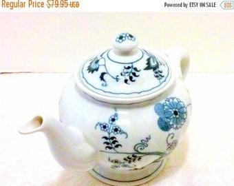 ON SALE Vintage Teapot Blue Onion Porcelain China
