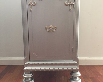 Vintage French Chateau Chic silver metallic nightstand/accent table/cabinet/end table