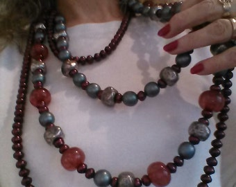 Necklace Glamorous Four Strands with Glass Purple Pearls,Resin and wood beads
