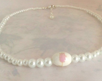 Posrcelain beads hand painted  Pink Tulip, Wedding Necklace, Pearl Necklace, Vintage Style, Art Deco Necklace