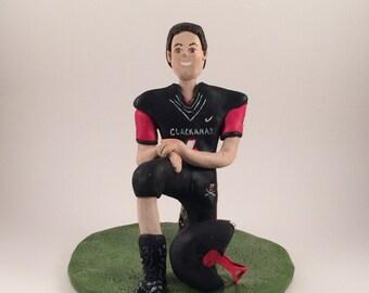 DEPOSIT ONLY!   Polymer Clay Figurine, Birthday Cake Topper, Football Figurine, Football Sculpture,Polymer Clay Figurine. Custom Cake Topper
