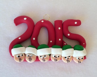 Polymer Clay Family 2015 Christmas Ornaments, Clay Famly Of Six Christmas Ornament, Clay Family Collectible