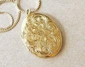 Vintage Large Sterling Silver Gold Locket Necklace, vintage BLING fancy gold locket, big vintage oval locket, vintage Binder Brothers locket
