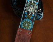 Blue/Green/Black Floral Guitar Strap