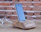 Wooden iPhone 6 dock Solid wood iPhone stand Handcrafted iPhone 6 Stand Christmas gift