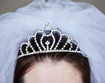 Vintage Edwardian Style Clear Glass Gem/Diamante/Rhinestone/Crystal Tiara/Crown/Headdress - Bridal/Wedding/Prom/Ball - 1950s - Prong Set