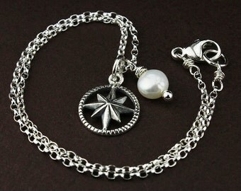 Compass anklet anklet jewelry compass jewelry silver compass sterling silver ankle bracelet graduation retirement gift freshwater pearl