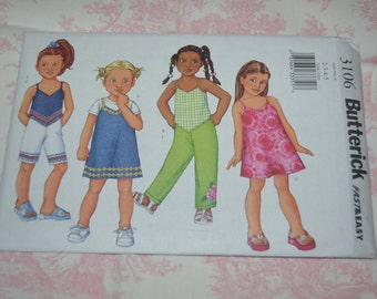Butterick 3106  Childrens / Girls Top Shorts and Pants Sewing Pattern - UNCUT - Sizes 2 3 4 5