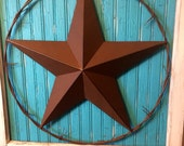 Salvaged Antique Window Frame with Texas Star on Abandoned Wood