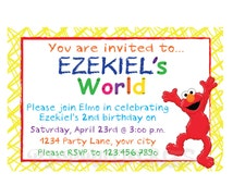 Elmo's World Birthday Invitation - Custom Digital File