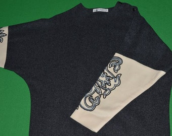 Vintage  JEANNE LANVIN  Paris Lanvin Designer Wool  Dress 1970s