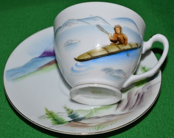 Vintage Japanese  Porcelain Hand Painted  Cup Saucer and Plate Man Fisherman in a boat  1940s
