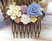 Floral Hair Comb - Filigree - Pearl - Violet - Cream - Muted Flowers - Summer Wedding - Wedding Accessory - Gold Leaf - Gold Branch