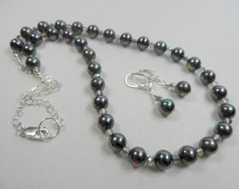 South Sea Peacock Pearl Necklace in Sterling Silver with Matching Leverback Earrings - 20 inch length