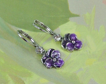 Pansy Earrings, Deep Purple Pansies, Flower Earrings, Cloisonne Pansy, Enameled Pansy, Purple Pansy Earrings, Cloisonne Earrings, Pansy
