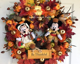 Fall Thanksgiving Wreath with Mickey and Minnie Mouse