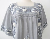 Mexican Embroidered Blouse 3/4 Sleeve Cotton Top In Gray, Boho Blouse, Hippie Top