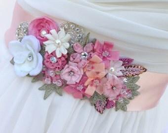 Bridal Sash-Wedding Sash In Blush Pink, Ivory Rose And Peach With Lace, Pearls And Crystals, Wedding Dress Sash, Bridal Belt,