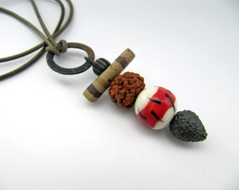 Carry Your World -  rustic pendant necklace w/ artisan ceramics; grungy primitive necklace, tribal assemblage necklace; small pendant