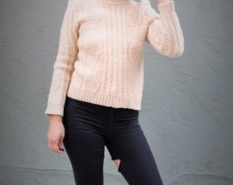 crochet sweater / cream sweater / knitted sweater / mountain sweater / winter sweater