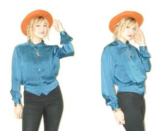 Vintage Joan Harper blouse . secretary blouse . turquoise blouse . polka dot blouse