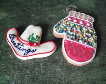 Set of 2 Homemade Christmas Ornaments Cowboy Hat and Glove Dough Handmade