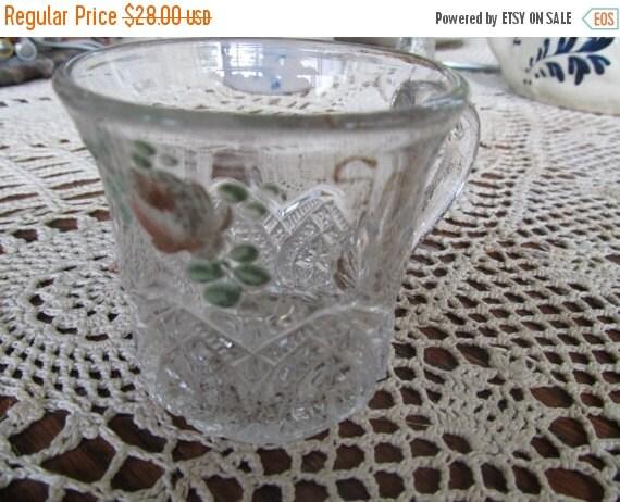 SALE 1930s Eapg Antique Childs Cup Clear Glass Tea Cup Mug Souvenir Burlington V.T. Pressed Glass Depression Glass Hand Painted Glass art de