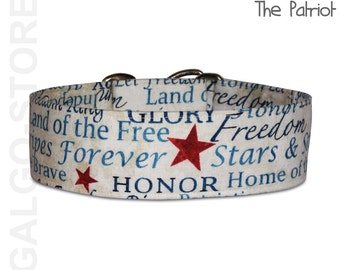 """patriotic dog collar """"the patriot"""", july 4th, USA, martingale, buckle or tag collar; wide 1.2""""- 2""""; size S- XL, greyhound collar"""