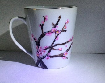 Hand Painted Cherry Blossom Mug- White With Gold Rim