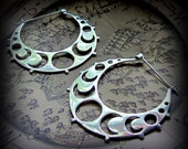 Moon Hoop Earrings ~ Crescent Moon Phase ~ Silver Earrings Gauges ~ Tribal Fusion Belly Dance ~ Witchy Occult Jewelry ~ Witchcraft Justice