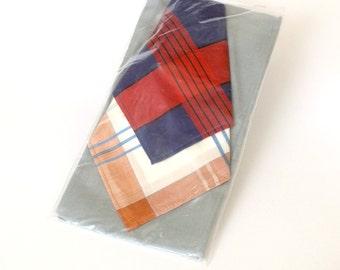 Set of 3 big handkerchiefs. NOS vintage handkerchiefs in original package and with original tag. Tin cotton handkerchiefs for men.