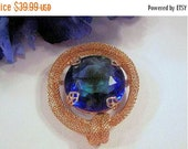 This item is ON SALE Large Blue Glass Rhinestone Brooch - Pin with Open Back Mesh Setting broach