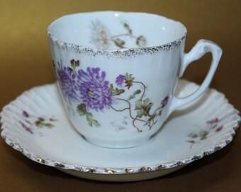 Antique KPM Porcelain Teacup and Saucer Set.  1840-1895
