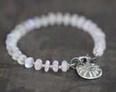 ON SALE Moonstone Bracelet, Thai Silver Beads, Chunky, Gemstone Bracelet, 7mm, Rainbow Moonstone, White Moonstone, Rustic, Tribal, Mossy Cre