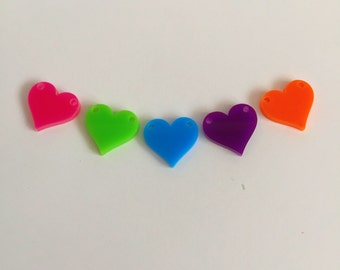 Perspex mini heart bunting flags for crafts & jewellery making. Pick your own colours