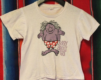 Vintage 1970s Kids Faded Sorry About That T Shirt
