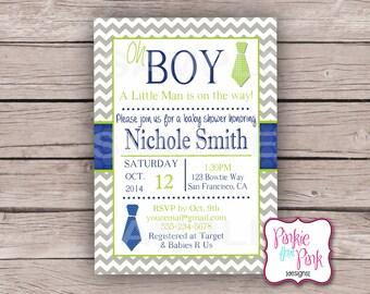Personalized Baby Boy Shower Invitation- Little Man Bow tie- Digital File Download- Birthday, Bridal, Wedding Shower