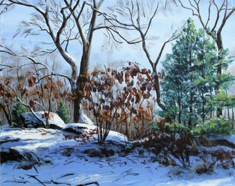 "Original painting ""Winter morning"" 12""x12"""