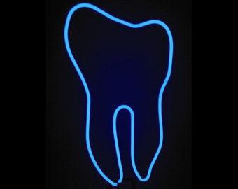 Cool Neon Tooth Freestanding Dental Tabletop Real Neon Art Sculpture