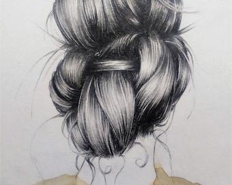 Original A5 illustration, Updo, Pencil and Watercolour