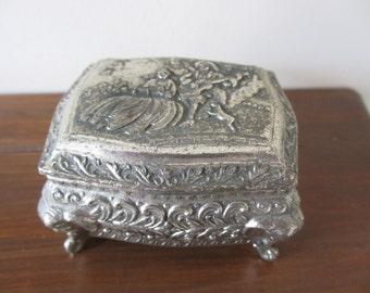Vintage Metal Jewelry Trinket Box  SALE ITEM