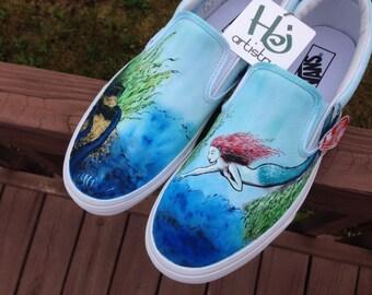 Hand Painted Mermaid Toms. Mermaid Shoes. Mermaid Toms. Mermaid Vans. Painted Mermaid