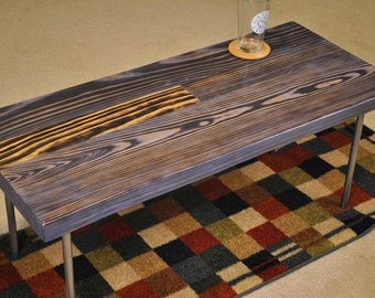 Metal leg coffee table: stained blue/grey and burned