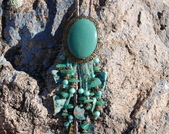 Green Stone Bolo/ Bola with Beads - FREE SHIPPING!