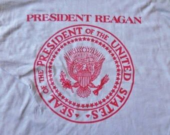 Vintage Commemorative President Ronald Reagan Tshirt Visit to Columbus Ohio Gray Red Size Extra Large XL