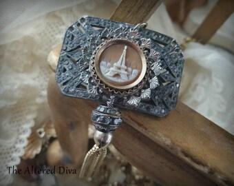 Tour de Eiffel - Vintage Assemblage Necklace by The Altered Diva Antique Cameo Pave Buckle